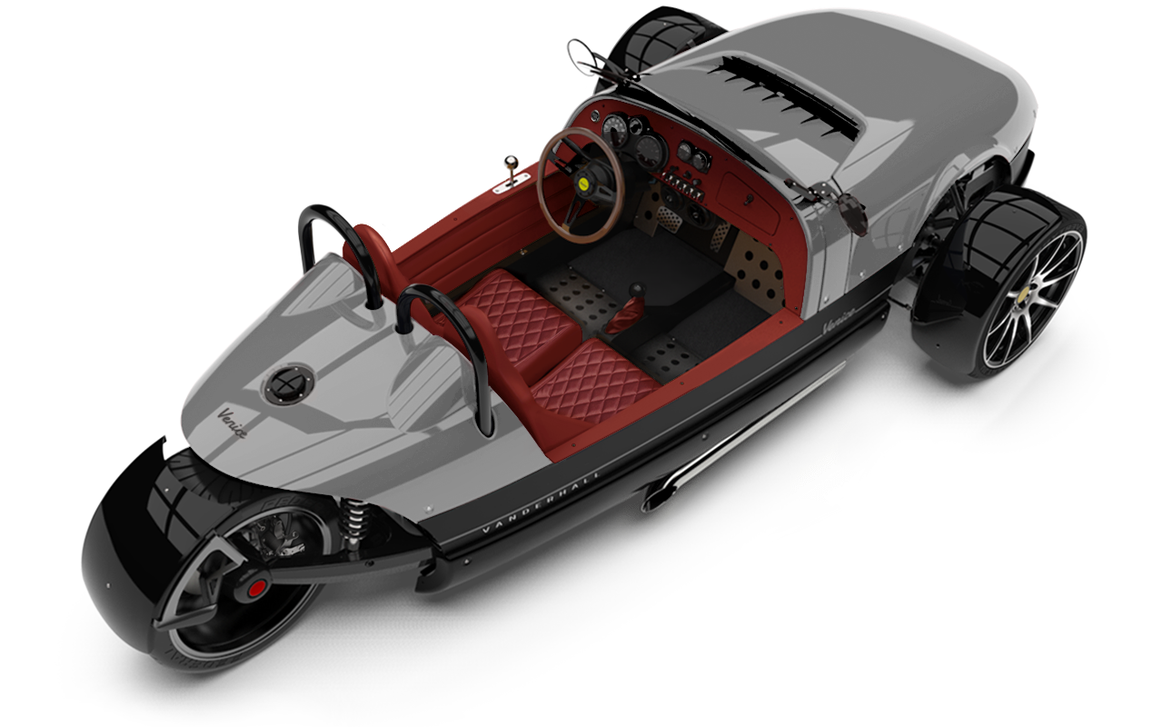 Vanderhall-Venice-High-Rear-rim SILVER quilted EU nov machined wheels 3 inch