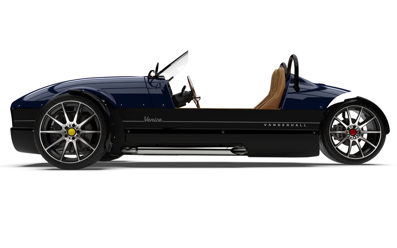 Vanderhall-Venice-side BLUE machined wheels 3 inch