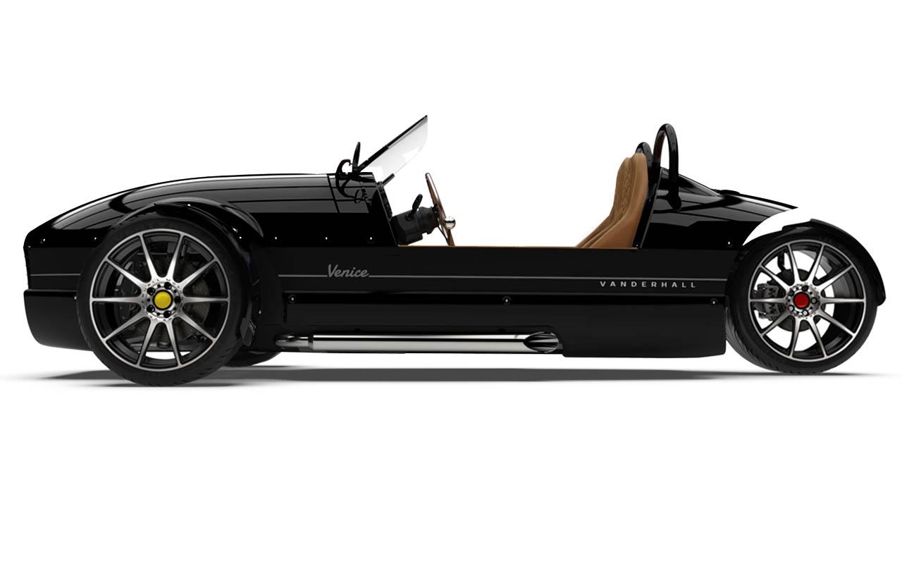 Vanderhall-Venice-side BLACK machined wheels 3 inch