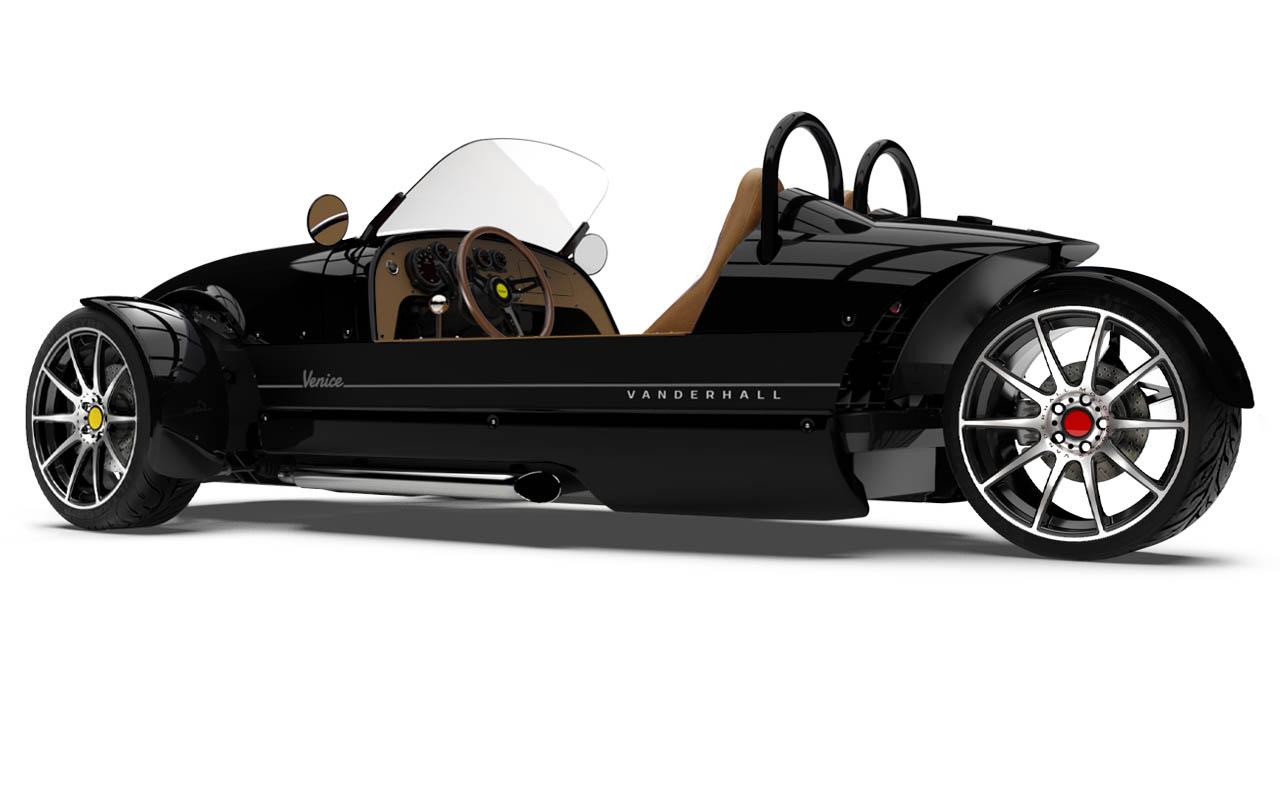 Vanderhall-Venice-side-rear BLACK machined wheels 3 inch brembo