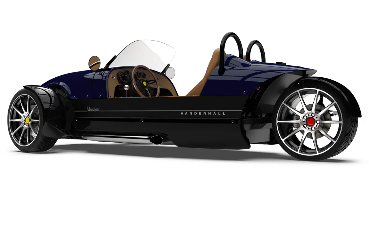 Vanderhall-Venice-side-rear BLUE EU nov machined wheels 3 inch bembo