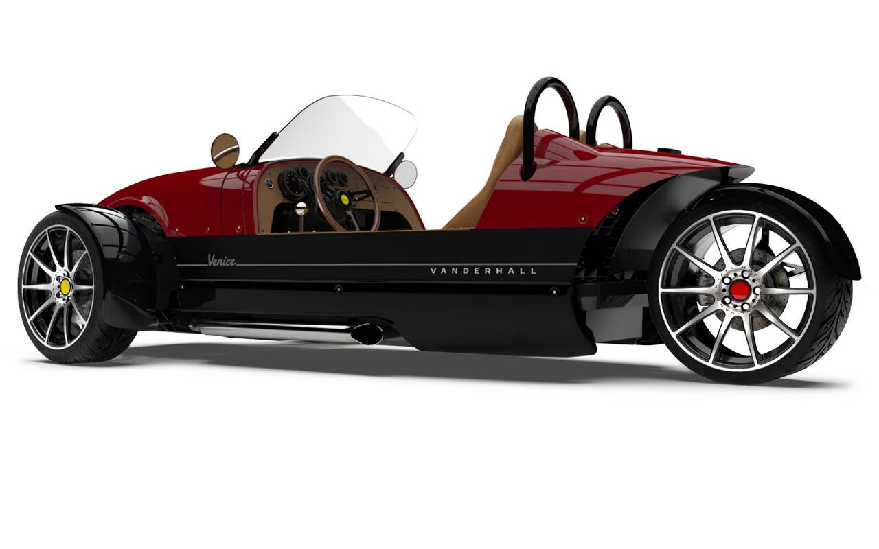 Vanderhall-Venice-side-rear machined wheels 3 inch brembo