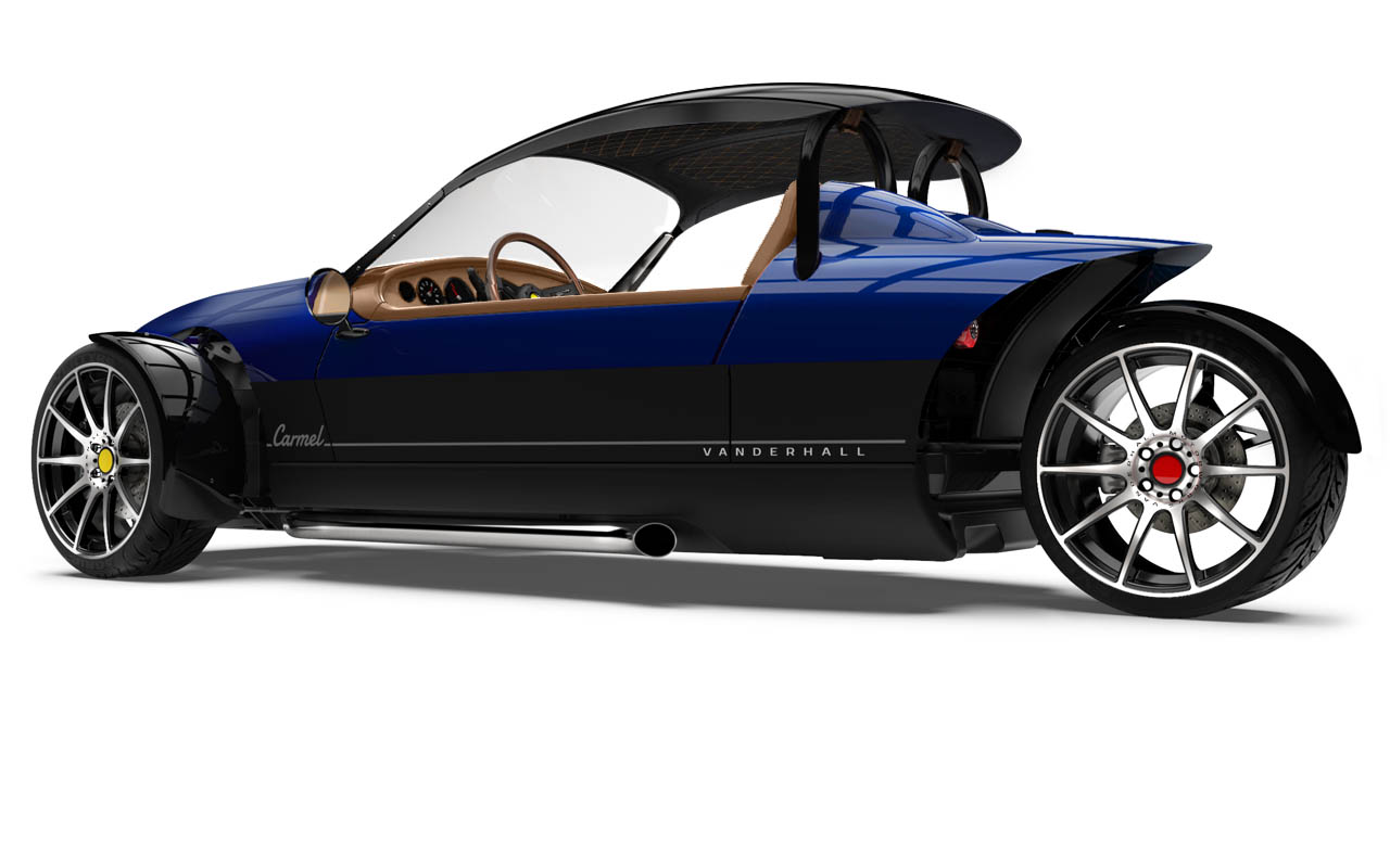 Vanderhall-Carmel-side-rear tracy BLUE with capshade machined