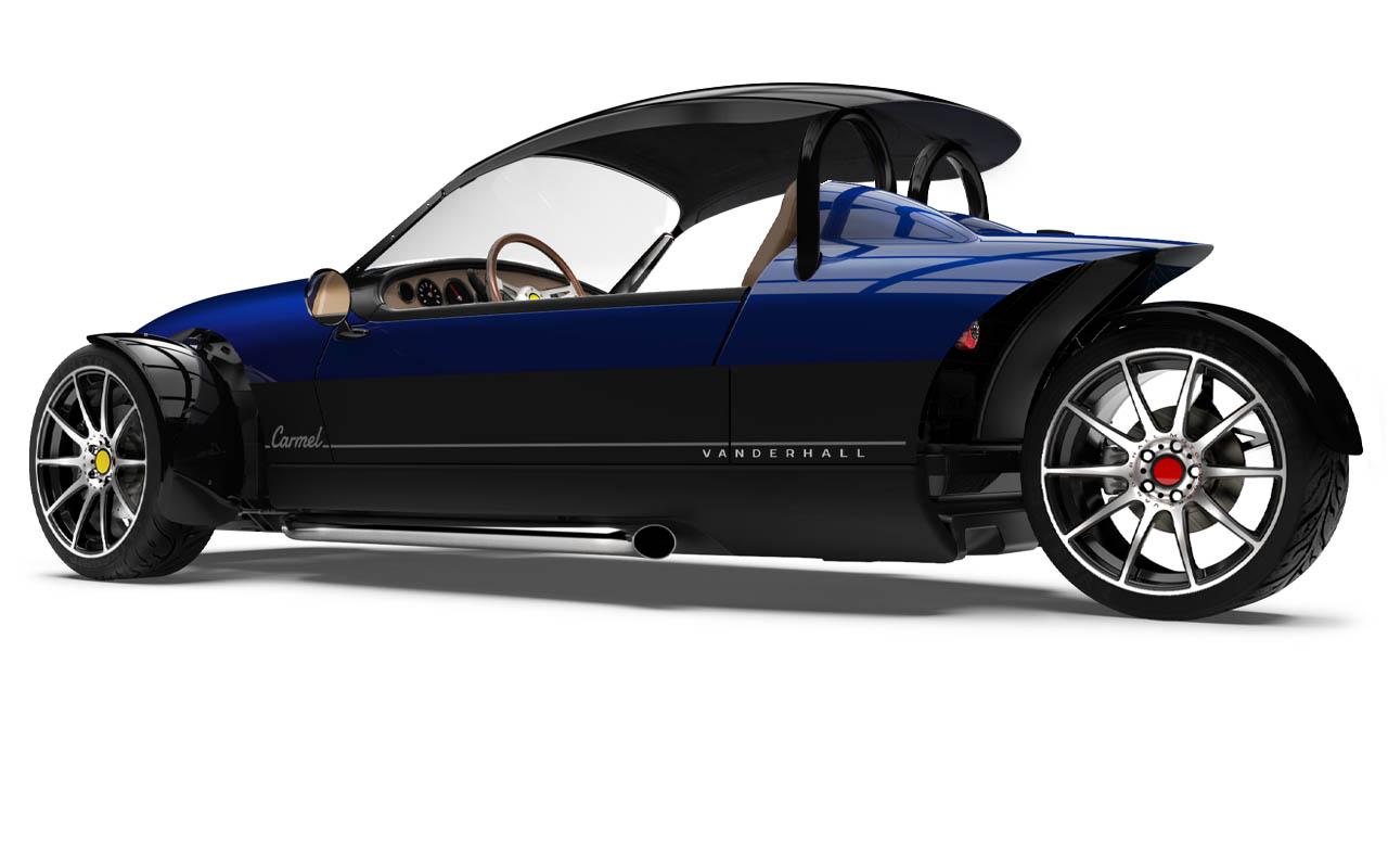 Vanderhall-Carmel-side-rear with capshade tracy blue