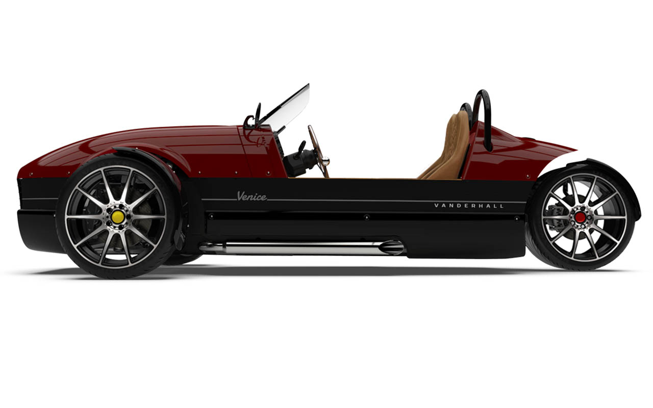 Vanderhall-Venice-side ida-rose machined wheels 3 inch brembos