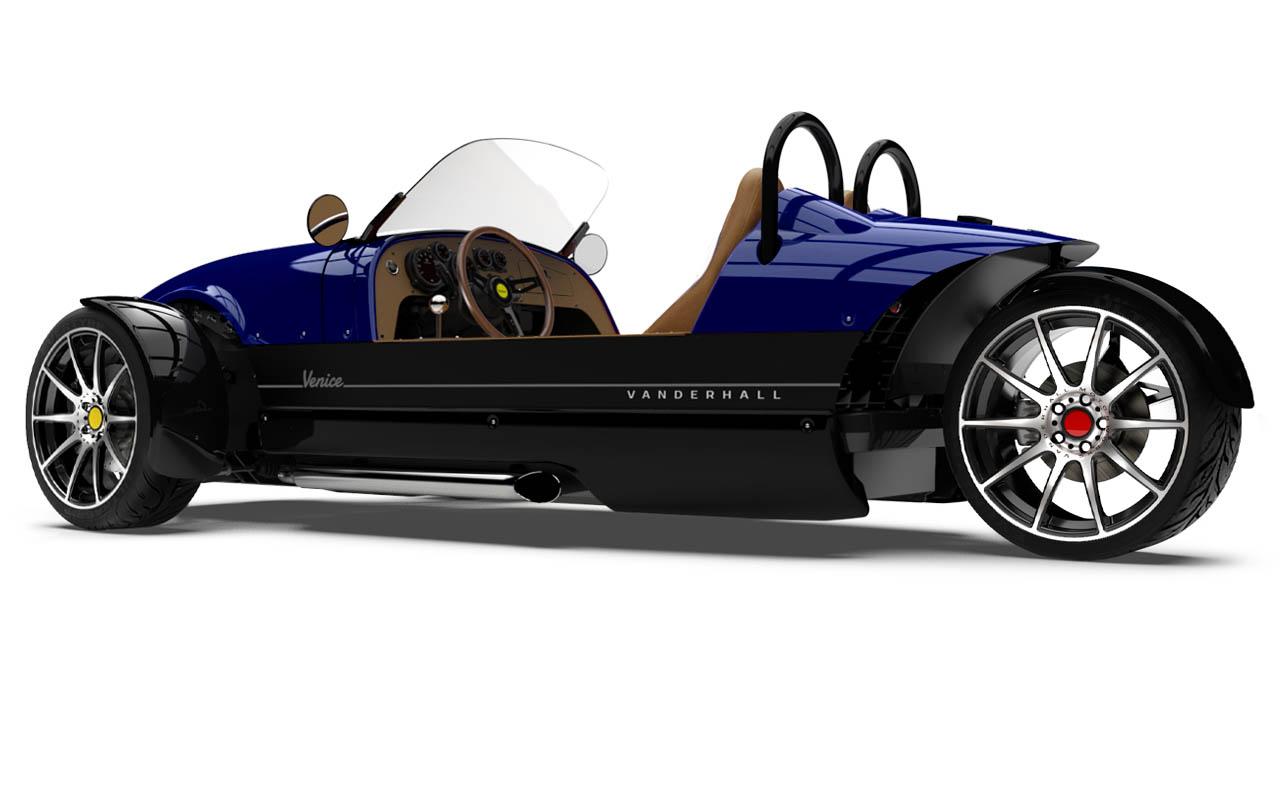 Vanderhall-Venice-side-rear tracy BLUE machined wheels 3 inch